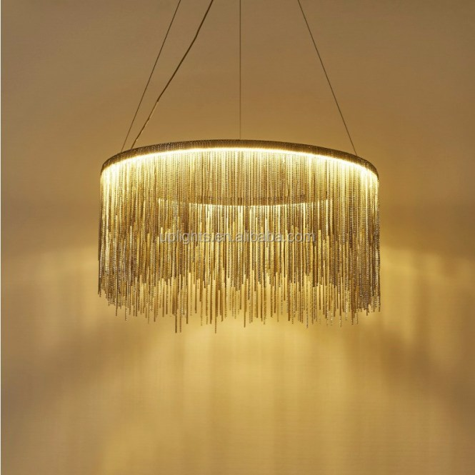Home Decoration Modern Silver Chain Chandelier For High Ceilings