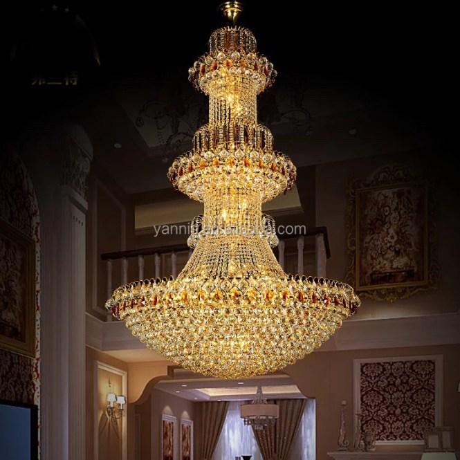Modern Gold Empire Style Led K9 Crystal Hotel Hanging Project Chandelier Pendant Light Lamp