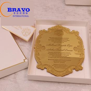 Acrylic Emas Undangan Pernikahan Laser Cut Kartu Undangan Upacara
