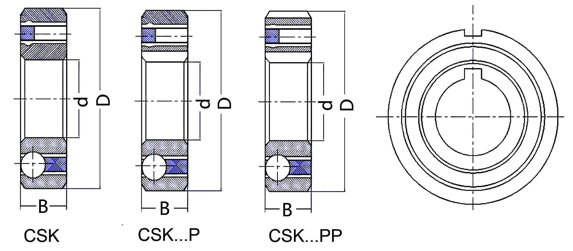 China Factory One Way Clutch Bearing Csk12 One Way Bearing
