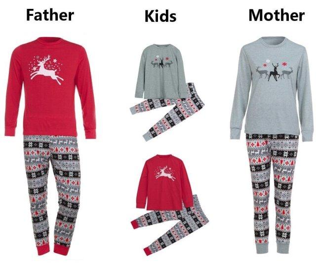 Llguz Kids Women Men Christmas Family Hooded Striped Long Sleeve Cotton Christmas Sleepwear Romper Parent