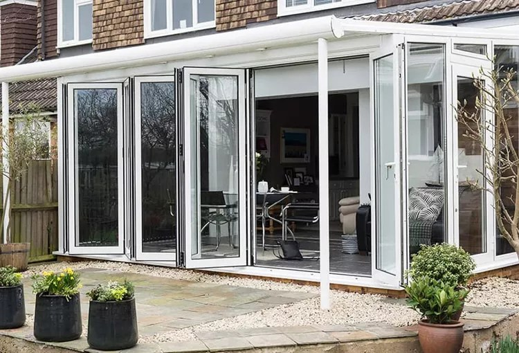 soundproof bi fold doors exterior powder coated white cheap price heat insulated folding patio double glass door for house buy folding door price