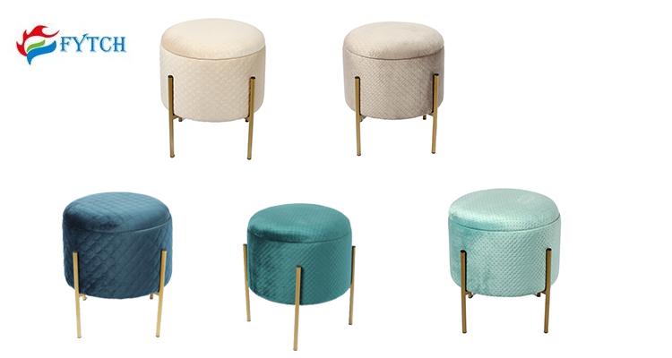 modern round cheap wooden blue velvet storage ottoman footstool with metal leg buy ottoman footstool wooden blue velvet storage ottoman footstool