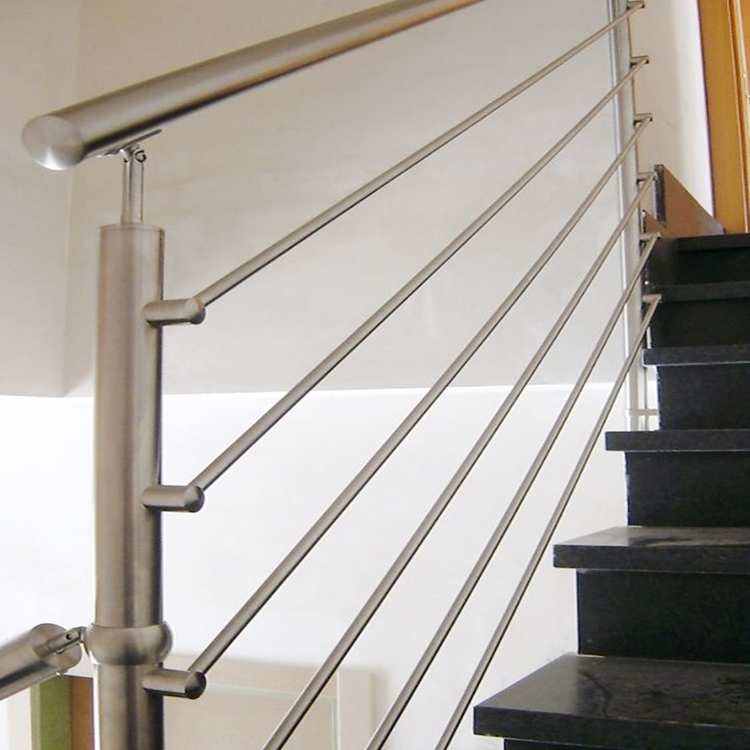 Stainless Steel Handicap Stair Rails For Stair Railing Post Pipe | Stainless Steel Outdoor Stair Railings | Horizontal | Balcony 4X10 | Metal | Black | Hand