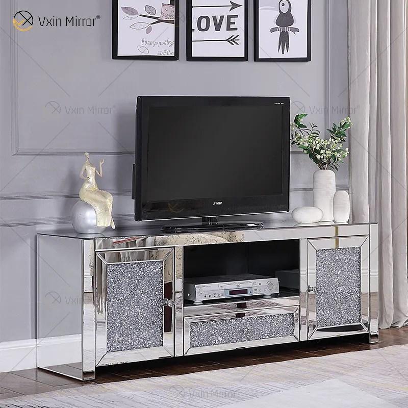 meubles miroir de salon en cristal meuble tv en diamant argent brosse wxf 097 buy salon de meubles en miroir supports de meuble de television en