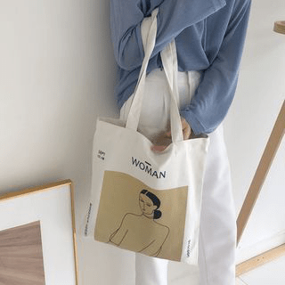 Personalized cotton shopping travel canvas tote bag with custom printed logo