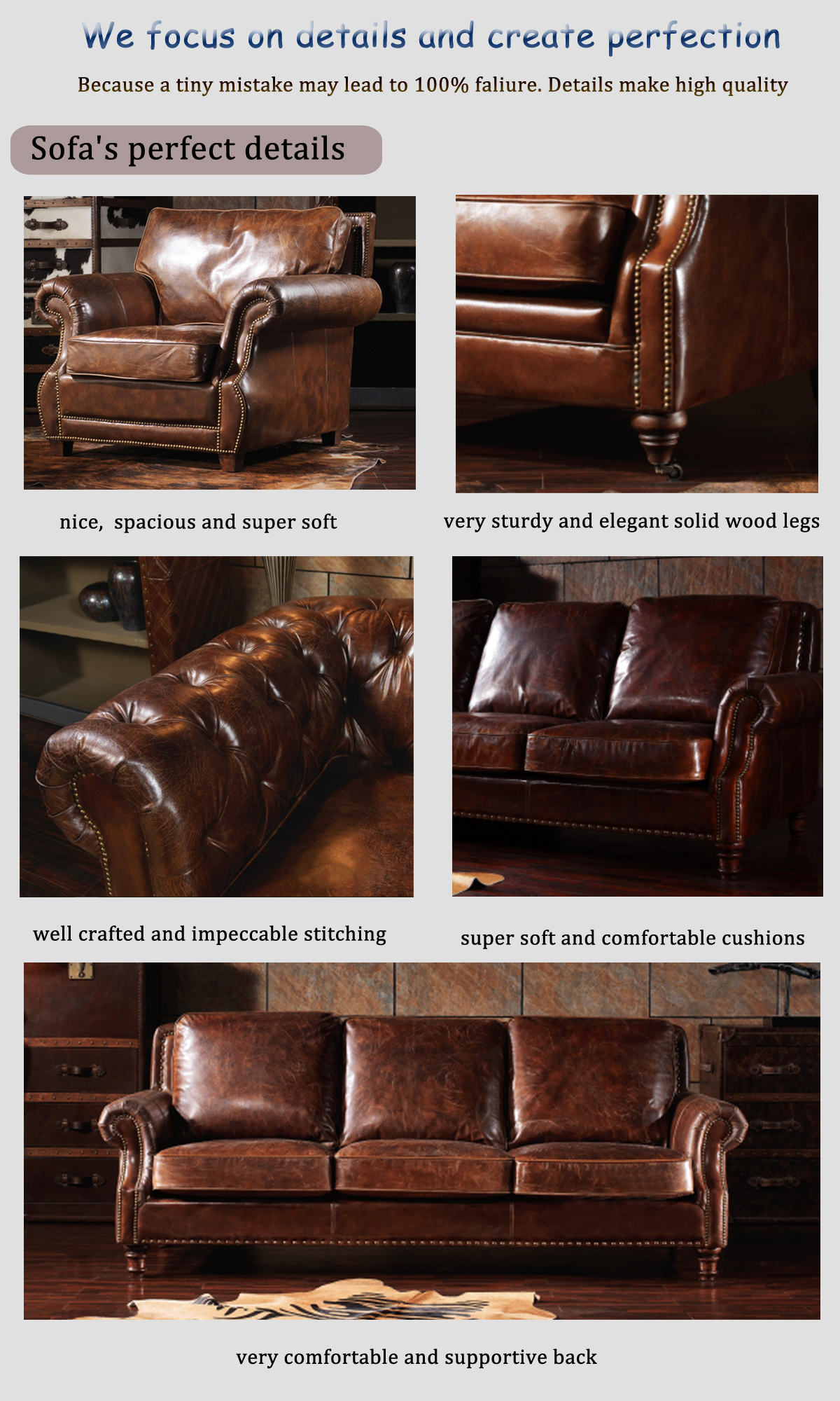 Rustic Single Seater Couch Sofa Collection Set Distressed