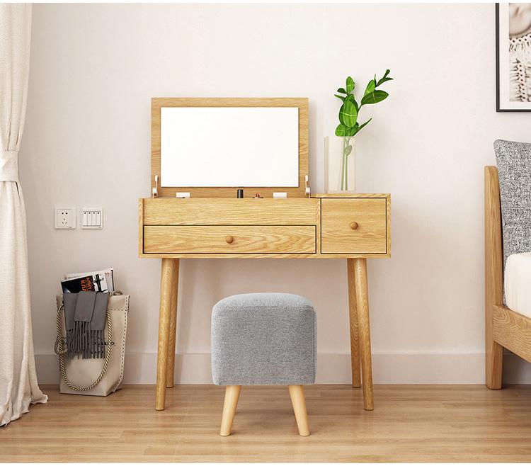 Modern Nordic Simple Bedroom Furniture Storage Cabinet Solid Wood Foot Makeup Table Dresser