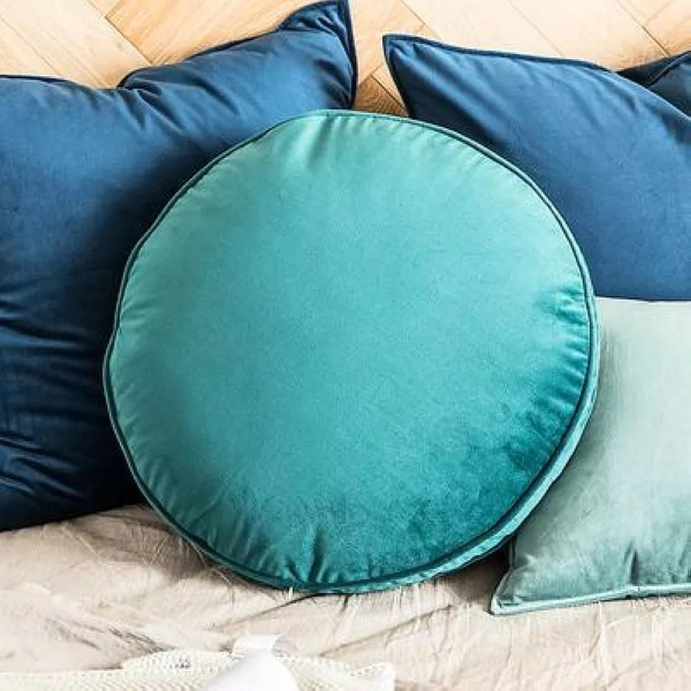 light teal designer cotton round cushion cover pillow case buy round shape pillow cover washable pillow sham 100 cotton pillow cases cheap price