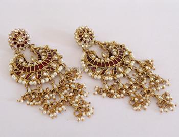 Indian Chandelier Pearl Earrings Whole Punjabi Stani Bridal Oversize Long Earring