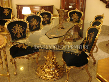 French Royal Style Solid Wood Long Dining Table Set With Chairs Luxury Hand Carved Dining Room