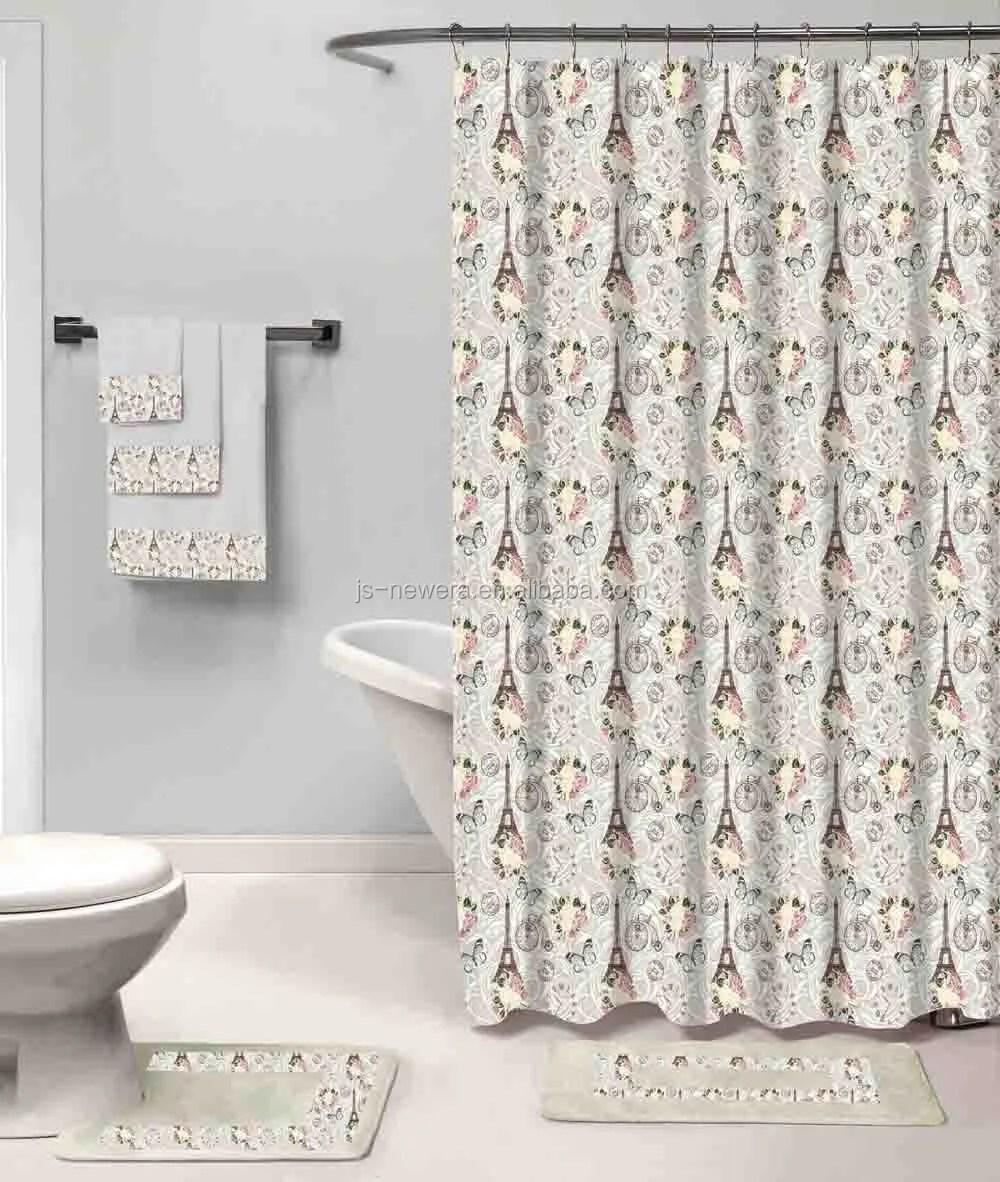 fashion 18pcs bathroom set polyester shower curtain bath mat rug and microfiber towel fancy designs buy bath rug shower curtain set modern bath