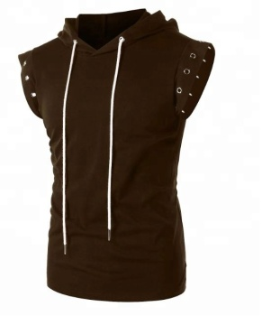 Hoodie - Drawstring Lace Up Solid Color Sleeveless Hoodie