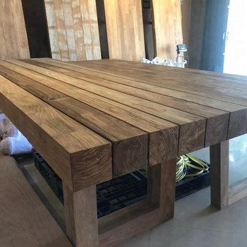 Wooden Beam Model Reclaimed Teak Restaurant Dining Table View Wood Rustic Dining Table Pangestu Product Details From Cv Pangestu On Alibaba Com