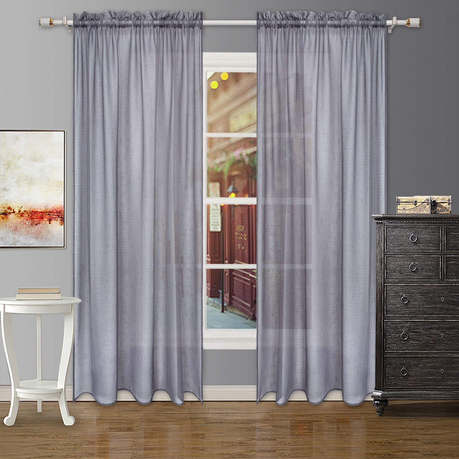 fashion hotel bedroom living room finished polyester gauze plain net curtain buy five compartments and one curtain full polyester material plain