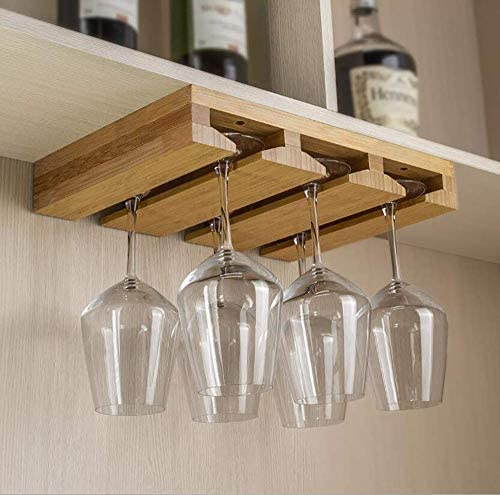 combohome bamboo wine glass holder hold up to 6 wine glasses hanging stemware display rack under cabinet mounted wine glass buy design hanging wine
