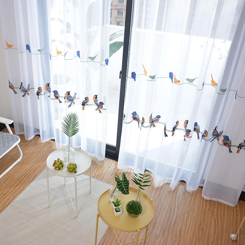 rideaux modernes pour salon chambre a coucher avec broderie pastoral blanc pour traitement de fenetre buy rideaux en lin pour salon rideau avec broderie oiseaux blanc tulle rideau fenetre traitement product on alibaba com