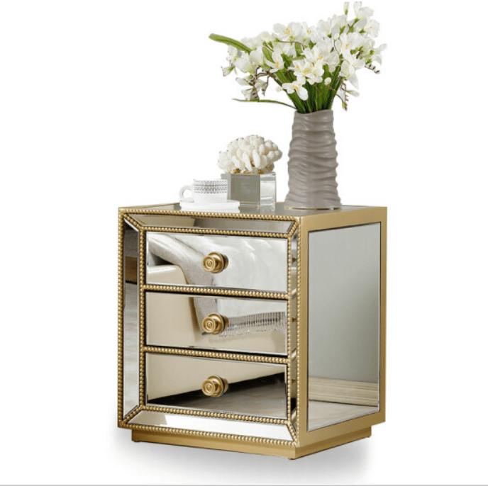 antique silver beads studded mirrored nightstand bedside table with 3 drawers view antique silver mirrored bedside table mino product details from