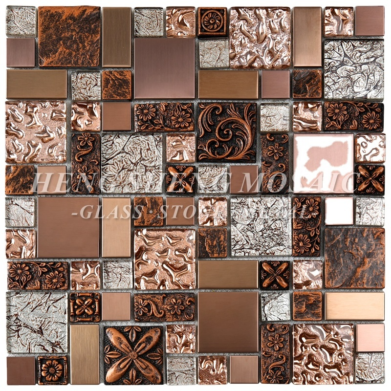 mirror wavy bronze rose gold foil copper metal glass carve resin kitchen subway aluminum strip backsplash mosaic tile decoration buy gold mosaic
