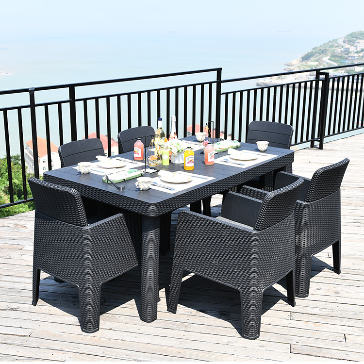 rectangle plastic garden dining set waterproof outdoor table with 6 armchairs buy table set outdoor furniture modern rattan design cheap dining