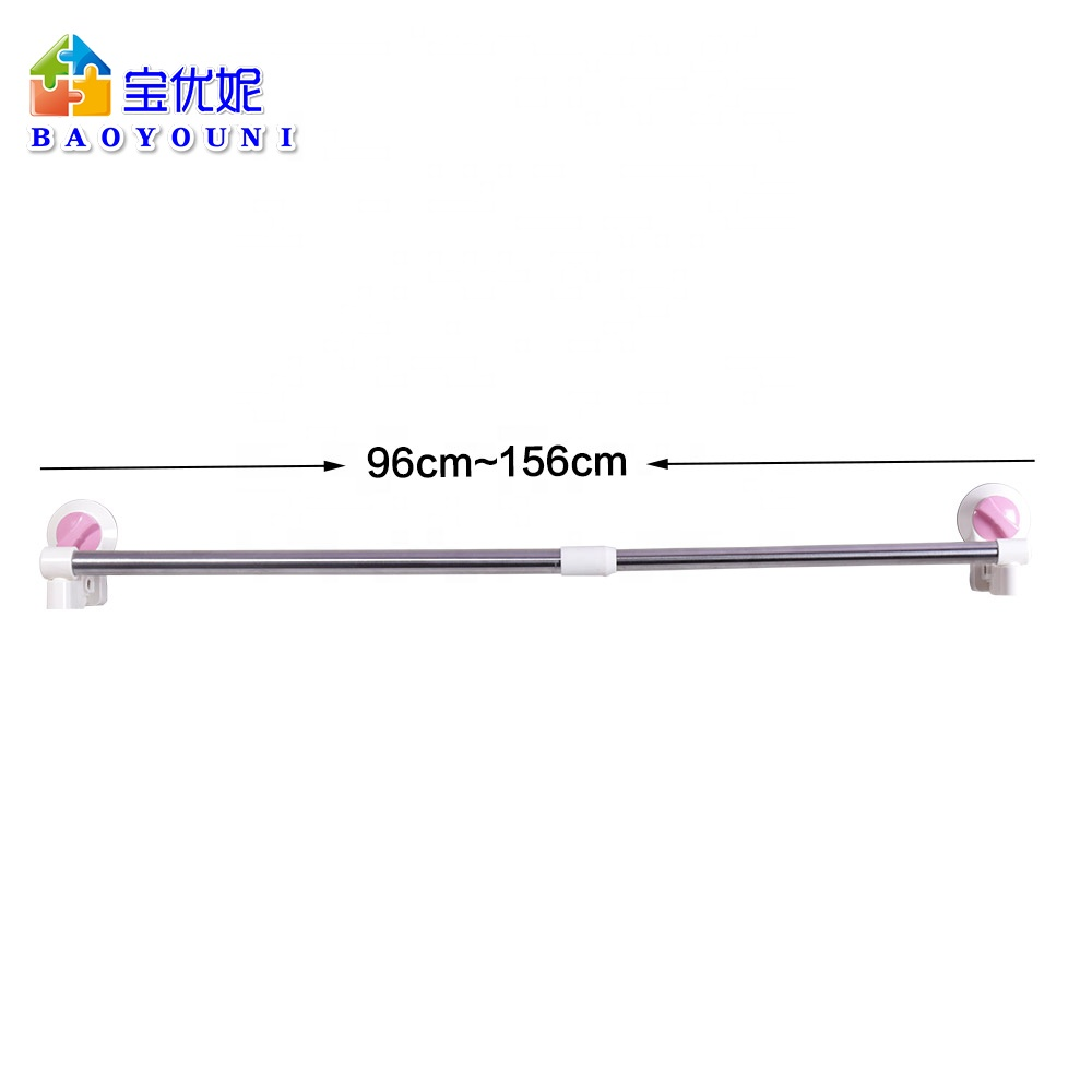shanghai manufacture stainless steel telescopic suction cup bathroom shower curtain rod without drilling dq1616 31 buy extendable shower curtain