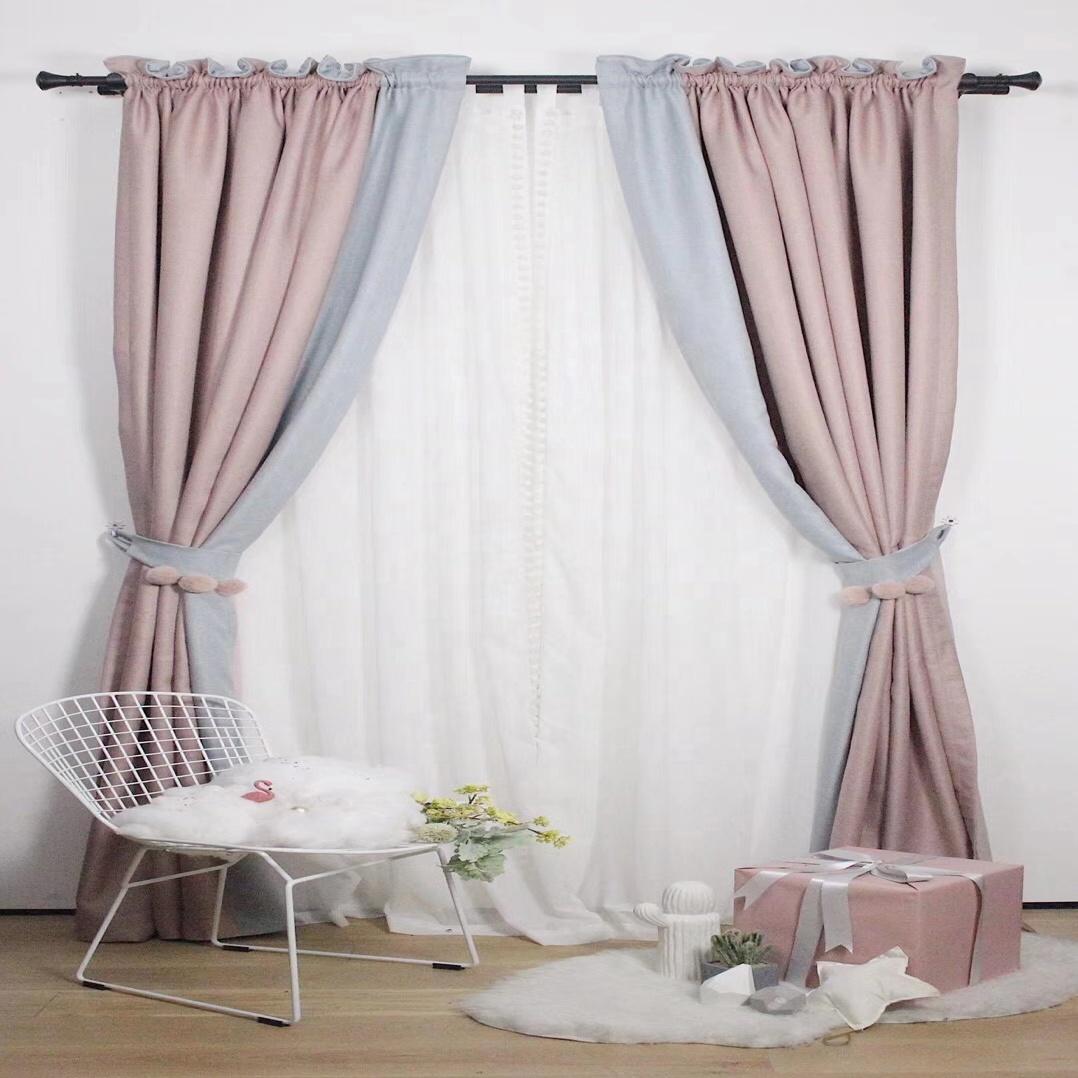 rideau occultant rose coreen double couche pour decoration de fenetre usine pret a poser buy rideaux fabriques en chine impression double rideau de
