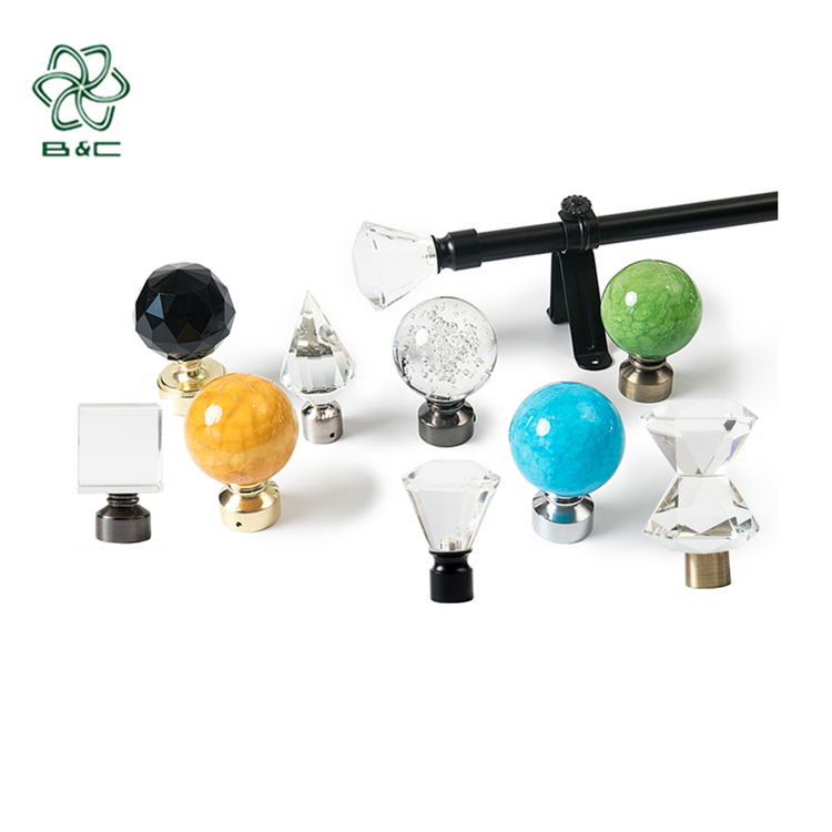 best selling acrylic curtain rods crystal ball modern beautiful glass rod finial classic style crystal curtain finials for sale buy curtain rods