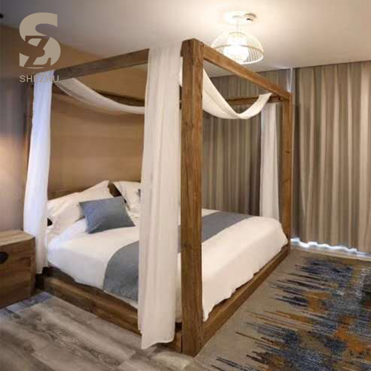4 poster homestay cube design wooden bed natural pine wood frame modern four poster hotel bed buy wooden bed king size bed pine wood bed product on