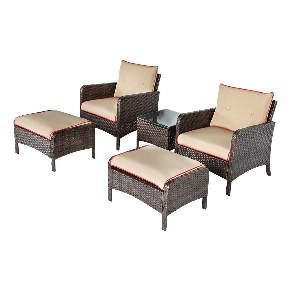 patio furniture 5 piece wicker outdoor conversation set outdoor wicker rattan furniture garden furniture sofa set with ottoman buy garden furniture set conversation 5 piece rattan sofa seating group with