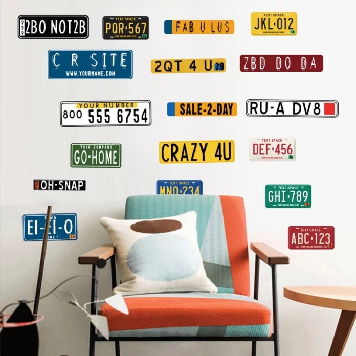 Vintage Car License Plate Wall Stickers Living Room Decoration Pub Decor Retro Signs Wall Decals Diy Posters Pvc Mural Art Buy License Plate Sticker Pub Decoration Living Room Decoration Product On Alibaba Com