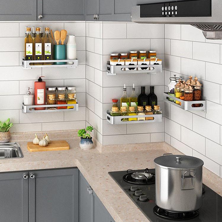 kitchen storage spice shelf kitchen organizer spice rack wall shelf punch free stainless steel storage shelves for kitchen buy kitchen storage rack