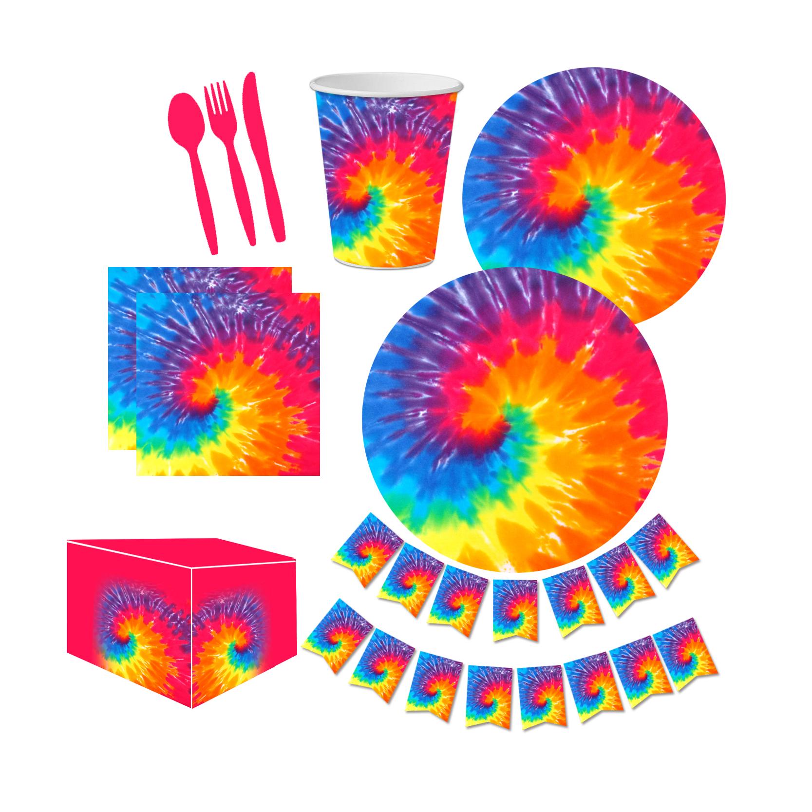 Happy Birthday Party Supplies Tie Dye Design Set Buy Tie Dye Birthday Party Supplies Tableware Set For 16 Tie Dye Theme Birthday Party Supplies Set Tie Dye Rainbow Paper Dessert Plates And Napkins