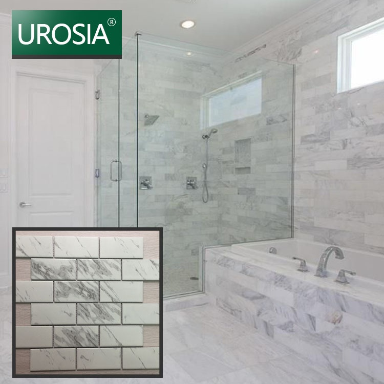 carrara white marble look ceramic carrara sheets beveled subway mosaic tile for bathroom kitchen wall buy beveled subway tile white subway tile subway tile bathroom product on alibaba com
