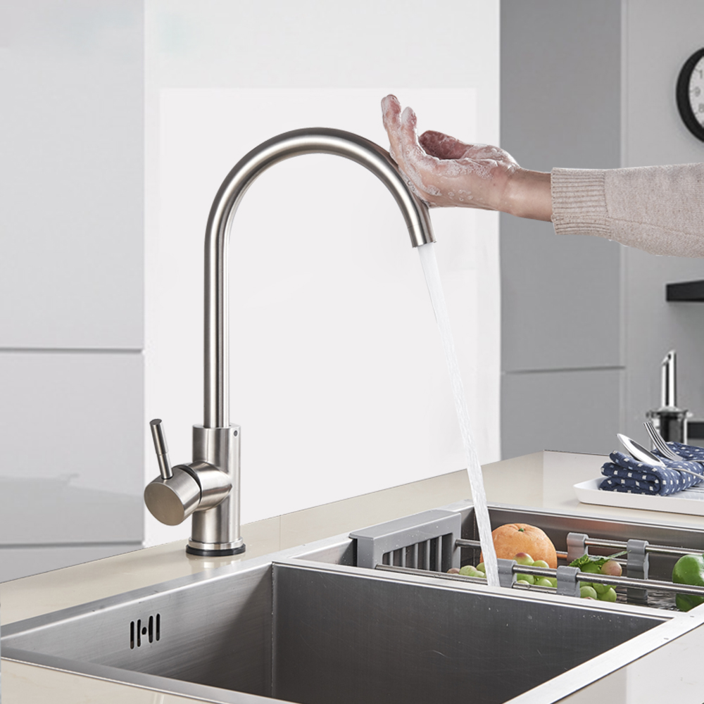 sensor faucet brushed nickel kitchen sink faucet touch control faucet tap hot cold water mixer deck mounted 360 degree rotation buy hot water