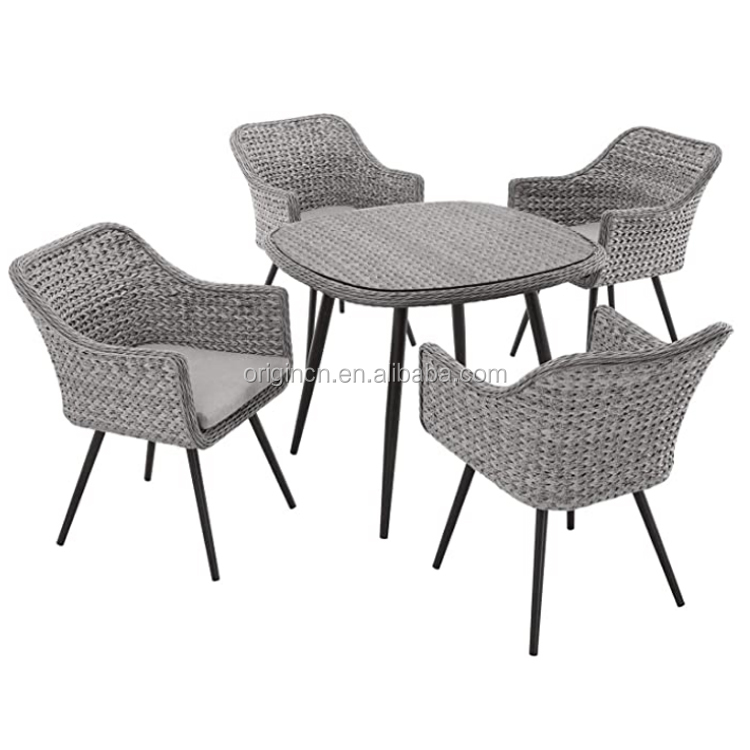 best seller nordic style quality villa four armchairs and round small patio furniture rattan outdoor dining table set buy outdoor dining table