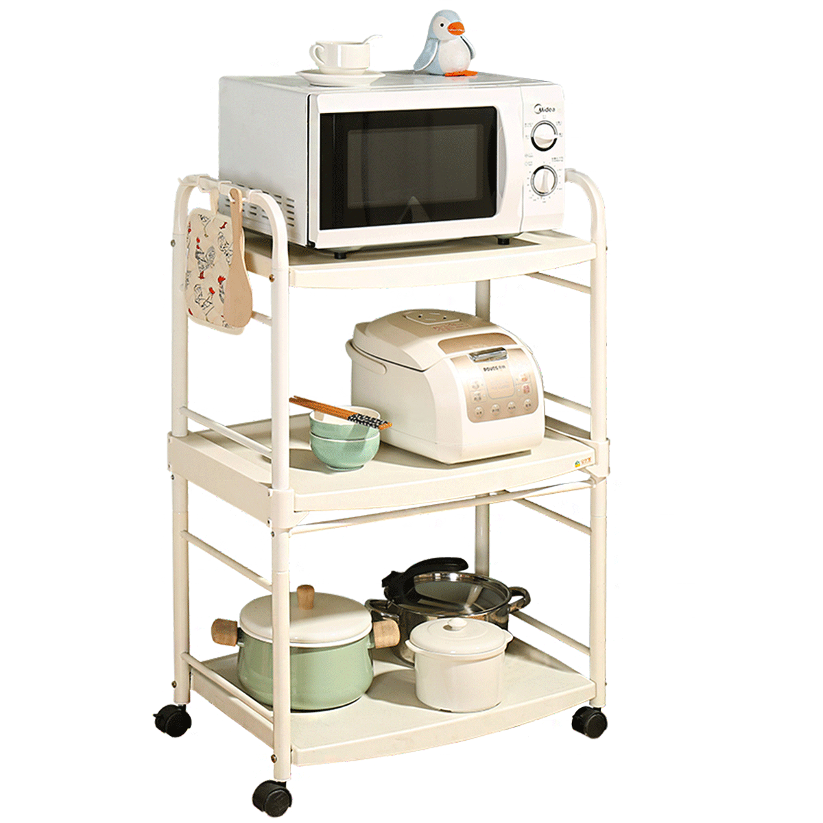 3 tier white iron pipe coating kitchen appliances sundries microwave organization storage cart rack with movable rolling wheels buy 3 tier kitchen