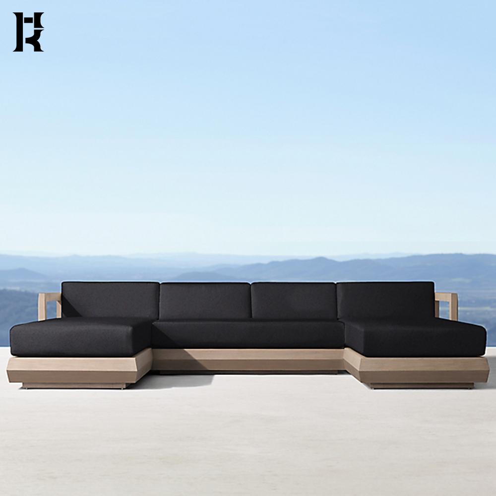 hotel outdoor furniture patio garden sets teak u chaise sectional sofa set wood l shape garden sofa set lounge sofa beds buy teak u chaise sectional