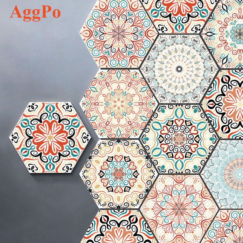 wall tile peel and stick wallpaper hexagon mandala style 9 9 inch 10 pack kitchen backsplash buy wall tile peel stick wall tile tile stick product