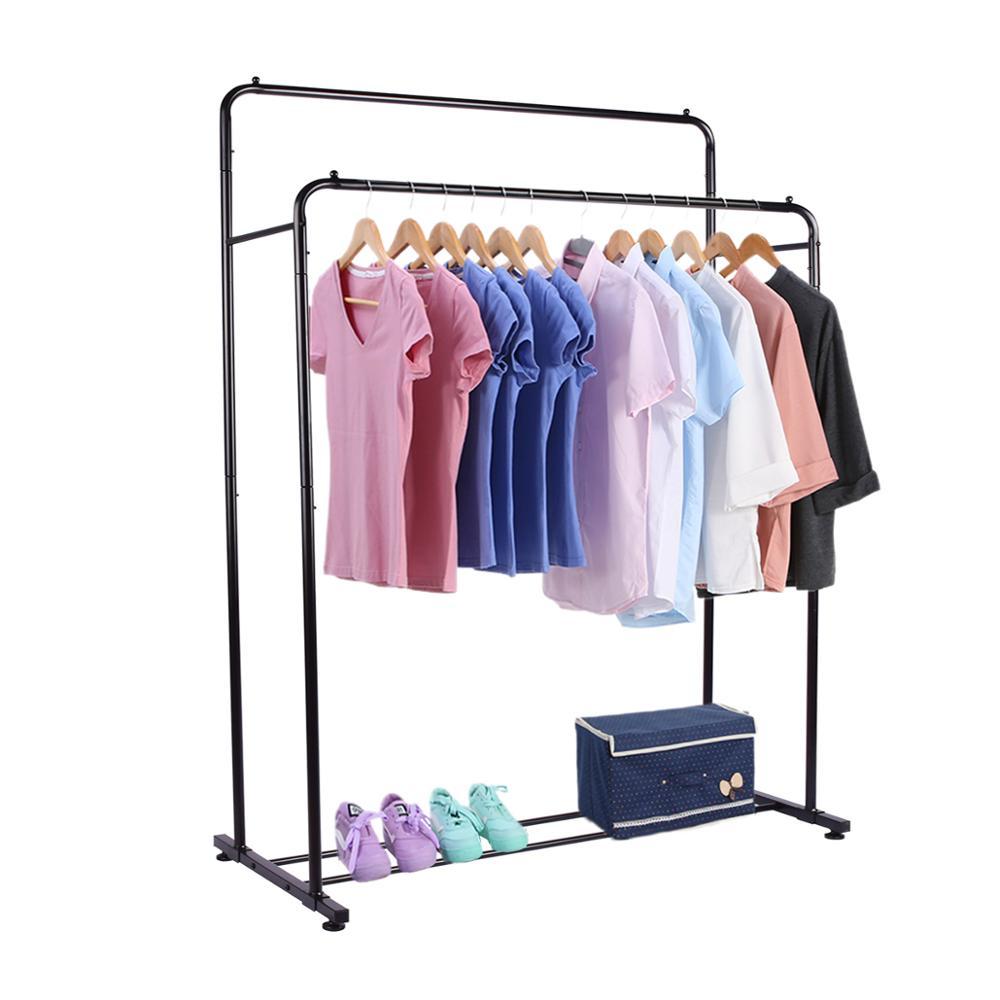 drm heavy duty double rail garment rack clothes organizer adjustable double rails clothes rack for balcony and bedroom buy single bar garment rack