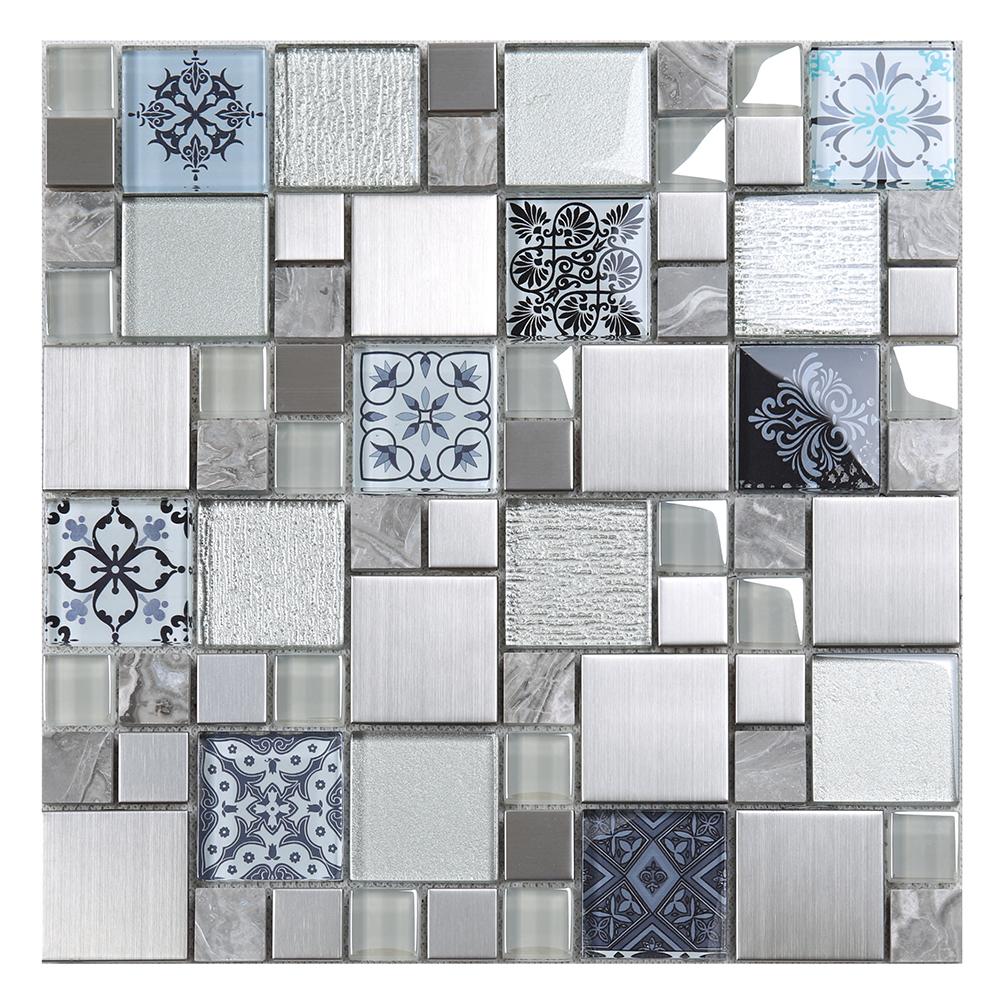 new square 3d printing tile glass mix metal marble mosaic tiles for kitchen backsplash buy stainless mosaic tiles kitchen backsplash tile 3d
