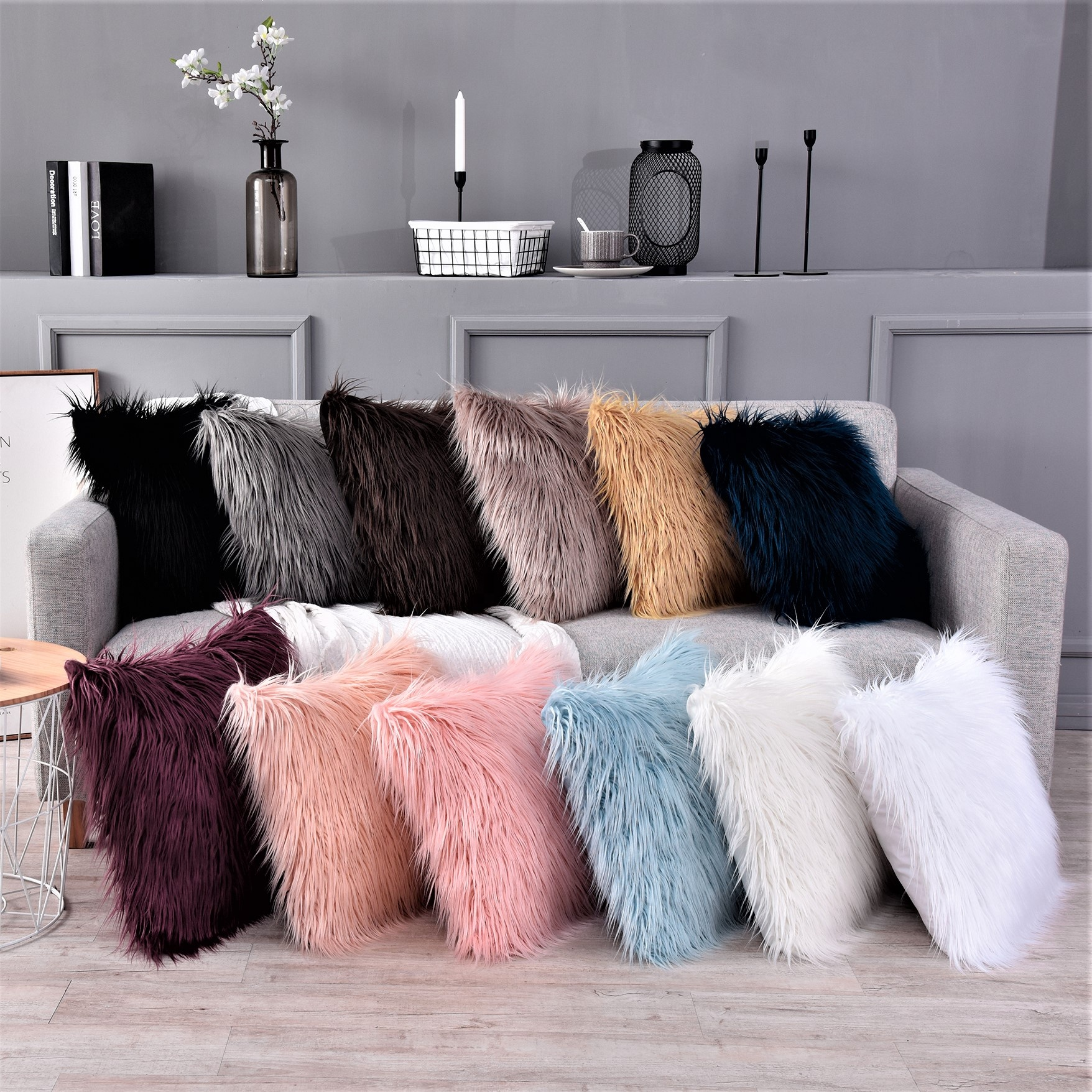 china factory home decor fur throw pillow cover shaggy sheepskin faux fur pillow cases buy home decor fur throw pillow cover fluffy shaggy sheepskin pillow cases fluffy faux fur pillow for bedding product