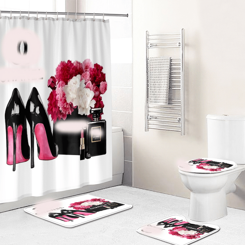 luxury 4pcs brand name bathroom shower curtains set customized printed logo shower curtain with rings for bathroom buy custom printed shower curtain bathroom shower curtain shower curtains set product on alibaba com