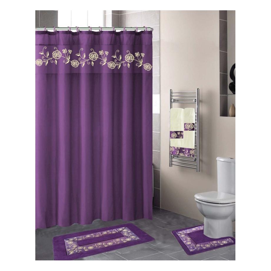 18 pcs nancy purple embroidery classy design bathroom mats set non slip rug carpet shower curtain and hooks buy bathmate penis pump printed shower curtain bath rug set product on alibaba com