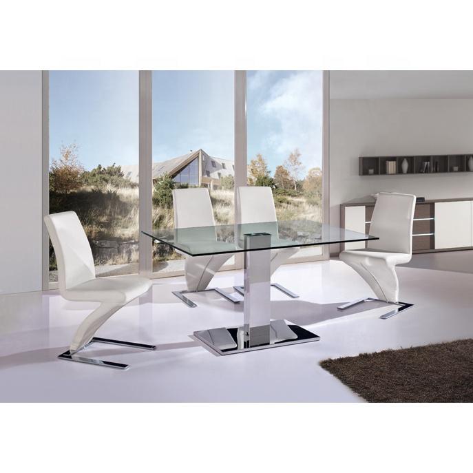 homers ensemble de table a manger meuble de salon et de salle a manger en acier inoxydable design moderne avec plateau central en verre trempe de