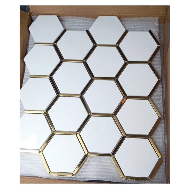 large hexagon marble mosaic tile white thossos bathroom tile kitchen backsplash natural stone gold inlay decorative wall tiles buy stone tile