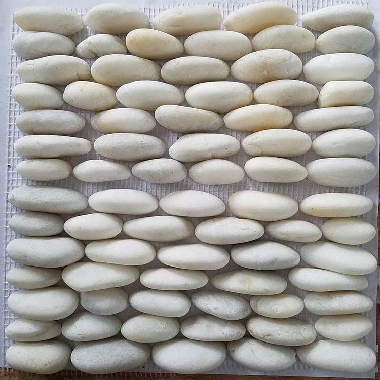 polished pebble stone sliced flat river stone pebble mosaic tile white river rock buy polished pebble stone sliced flat river stone pebble pebble mosaic tile product on alibaba com