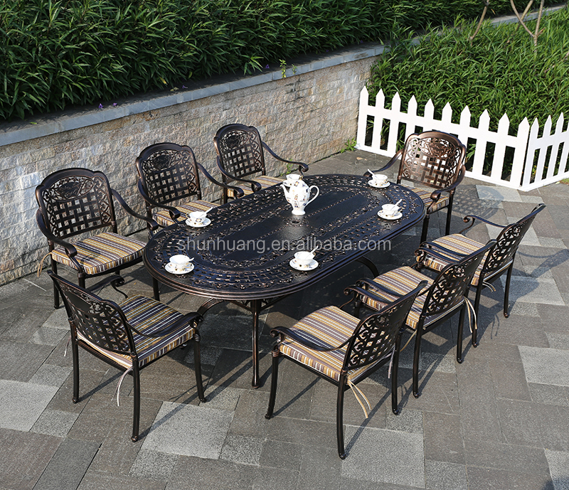 new design outdoor garden furniture cast aluminium dining set long table with 6 or 8 chairs buy aluminium dining set garden furniture outdoor table