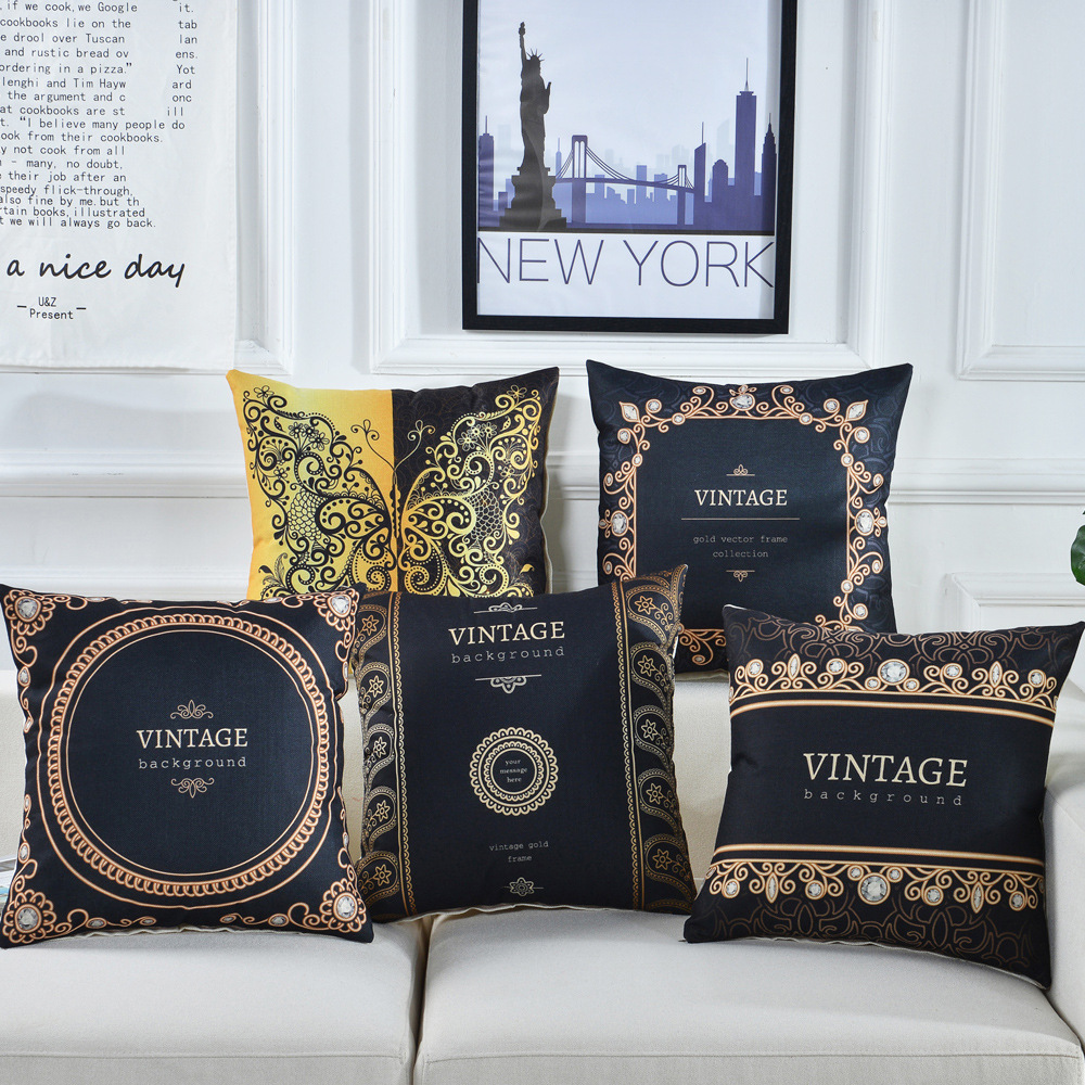 high quality vintage luxury europe black gold cushion cover decorative throw pillow cover home decor pillowcase buy linen cushion cover bed pillow