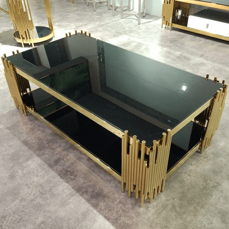 luxury modern design gold polished stanieless steel tempered glass top rectangle coffee table view rectangle stainless steel frame coffee table mr