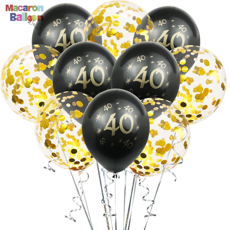 40th Birthday Decorations With 40 Printed Birthday Balloons In Black Gold For Party Supplies 10 Pack Kk254 Buy 40th Birthday Decorations With 40 Printed Birthday Balloons In Black Gold For